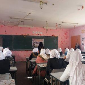الرابطة الإسلامية تنظم لقاء توعوي لطالبات مدرسة العقاد الثانوية برفح