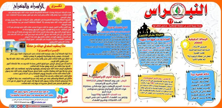 """الرابطة الإسلامية  تصدر مجلة النبراس """"77"""" في مدارس قطاع غزة"""